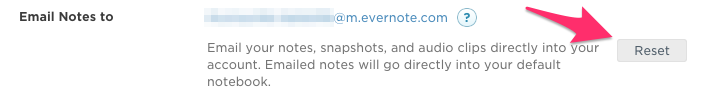Reset Evernote Email Address