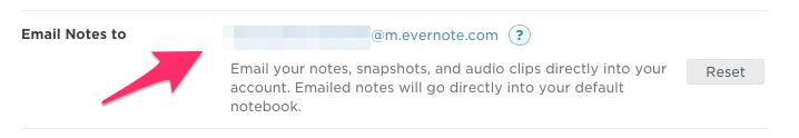 Evernote Email Options